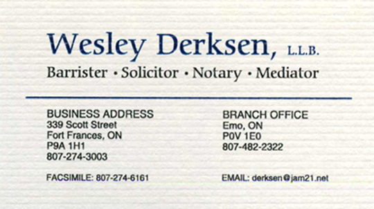 Example of business card for Wesley Derksen, LLB