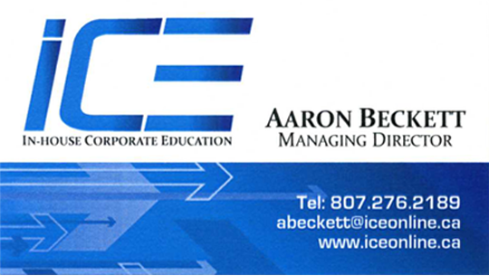 Example of business card for Aaron Beckett, managing director at In-House Corporation