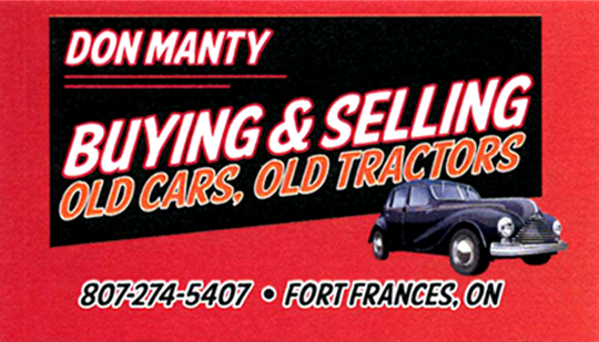 Business Card for Don Manty buying & selling old cars & old tractors