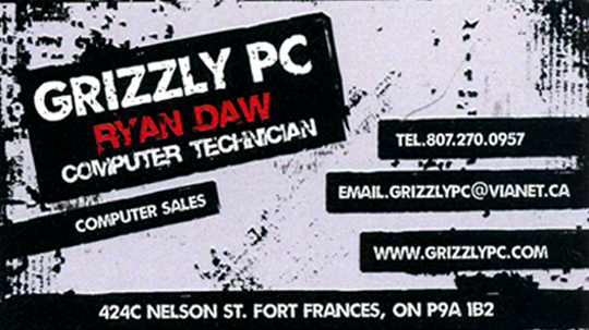 Business Card for Ryan Daw Grizzly PC Computer Technician