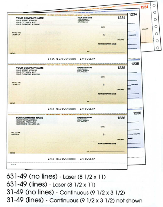 Examples of Laser Cheques