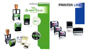 stamping supplies: green line and printer line