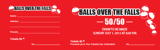 Balls over the Falls raffle ticket