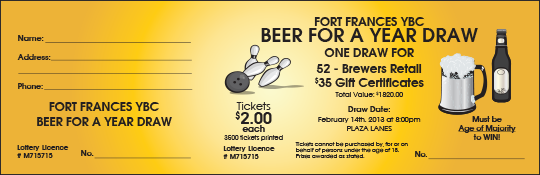 Fort Frances Youth Bowling Club Beer for a Year raffle ticket