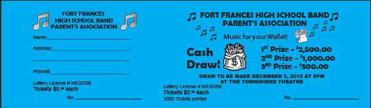 Fort Frances High School Band Parents' Association raffle ticket