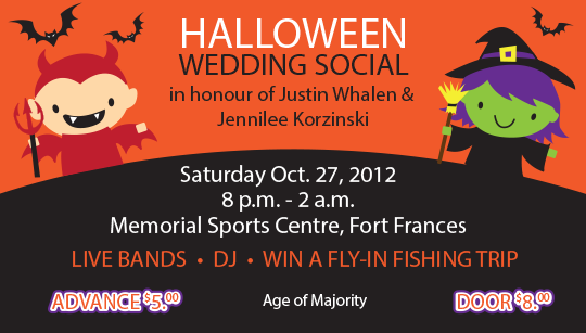 Halloween wedding social ticket
