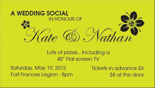 Social Ticket for a wedding