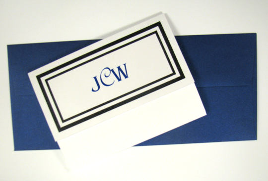 Closed view of folded wedding invitation